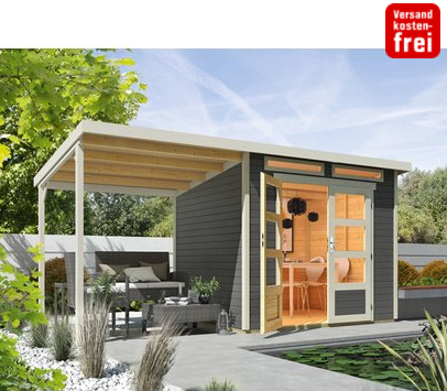 Gartendeal: Wolff Finnhaus Holz-Gartenhaus Venlo mit Schleppdach Titangrau 426 cm x 213 cm nur 949,- Euro inkl. Versand