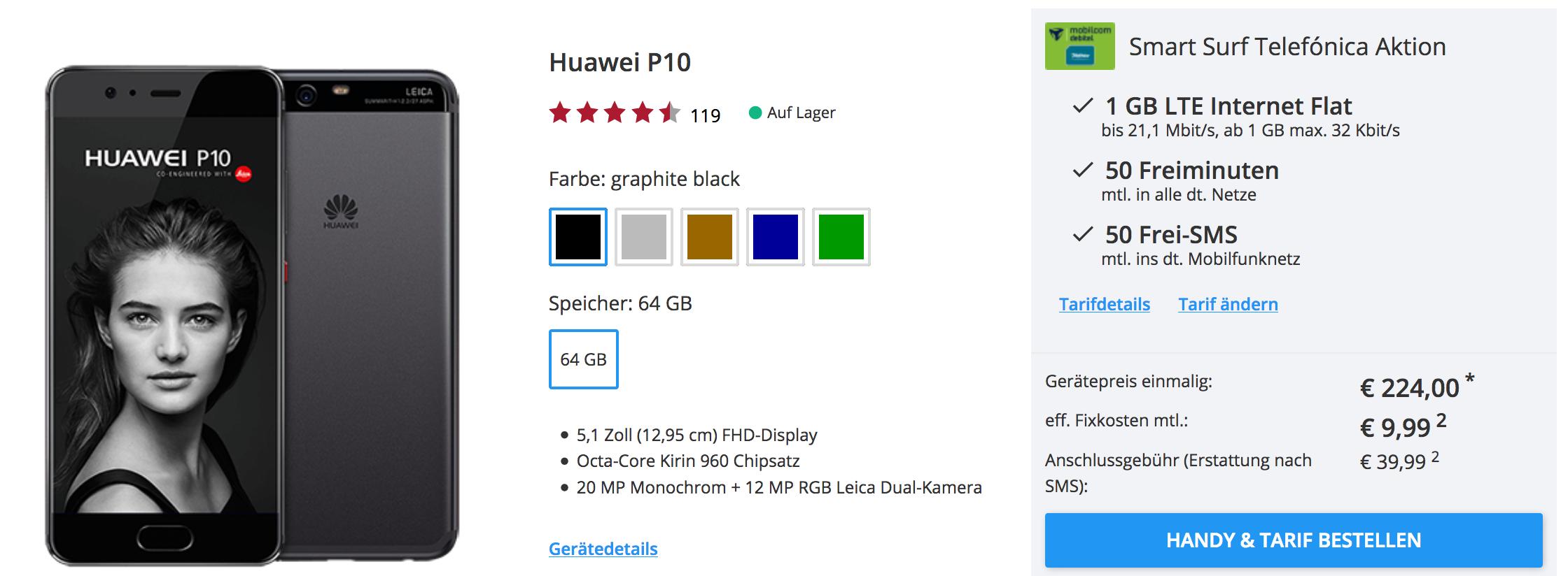 Huawei P10 mit Smart Surf günstig
