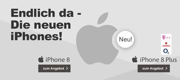 Vorbestellbar! Apple iPhone 8 / 8 Plus ab einmalig 99,- Euro Zuzahlung mit diversen Tarifen, z.B. Telekom Magenta Mobil M für nur 51,95 Euro mtl.