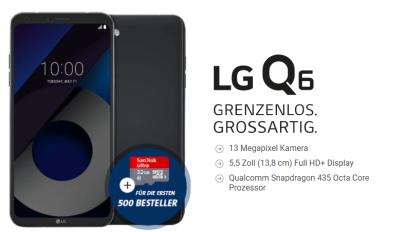 LG Q6 Smartphone mit Smart Surf Tarif bei Sparhandy