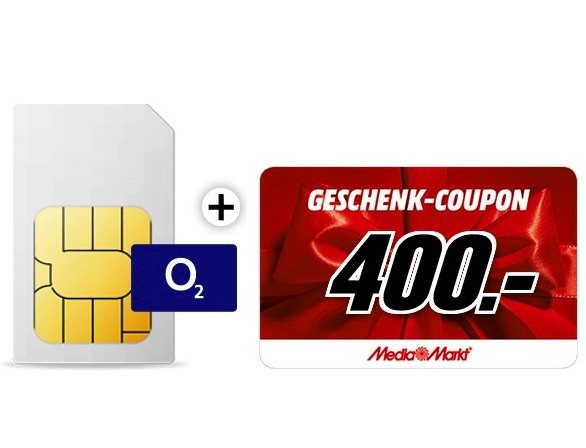 O2 Free L 20GB LTE nur 39,99 Euro monatlich – dazu noch 400,- Euro MediaMarkt-Gutschein