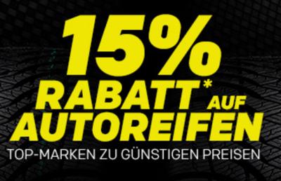 Nur noch heute! 15% Rabatt auf Reifen der Händler: Gripgate, Reifendirekt, meinReifenOutlet und Giga Reifen bei Rakuten