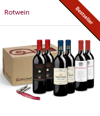 Rotweinabo mit 6 Flaschen