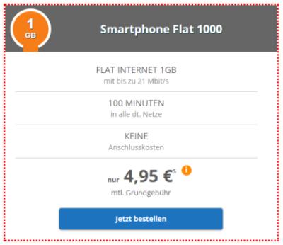 Klarmobil Smart-Flat 1000 (Telekom Netz) mit 1GB Datenvolumen, 100 Minuten und 9 Cent pro SMS für mtl. 4,95 Euro