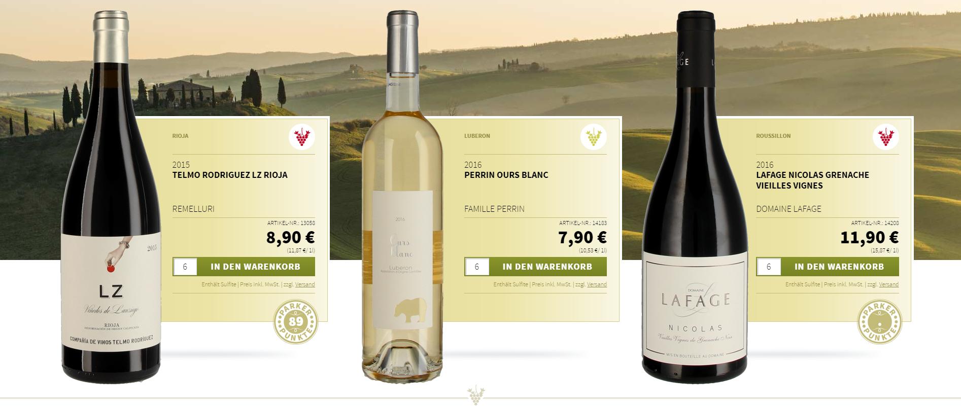Wein mit 10 Prozent Rabatt