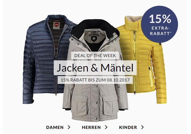 Engelhorn Weekly Deal mit 15%Rabatt auf Jacken