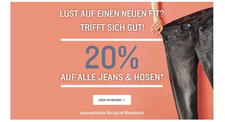 20% auf Jeans und Hosen bei Tom Tailor