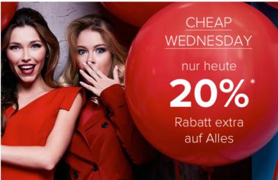 Nur heute: Cheap Wednesday mit 20% Extrarabatt auf Alles bei Dress-for-Less