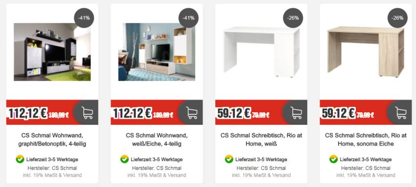 Wohnwände und Schreibtische von CS Schmal bei Top12.de