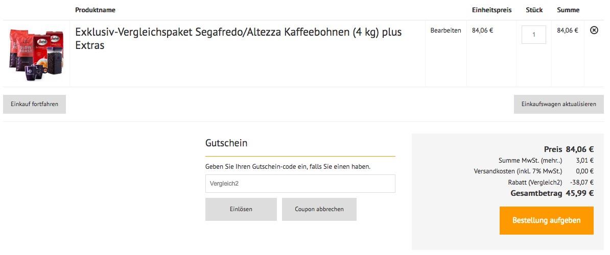 4kg Segafredo und Altezza Kaffeebohnen inkl. 2 Tassen und Vorratsbox