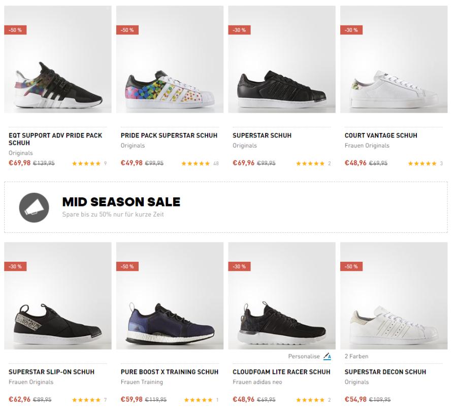 Bis zu 50% Rabatt im Adidas Midseason Sale