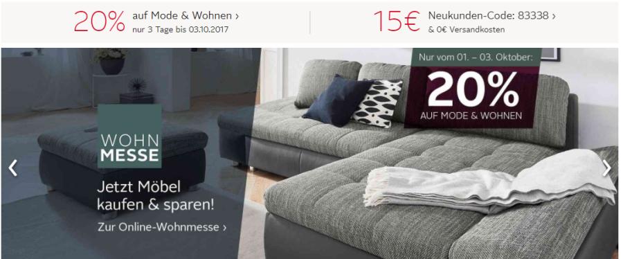 20 gutschein auf mode und wohnen bei. Black Bedroom Furniture Sets. Home Design Ideas
