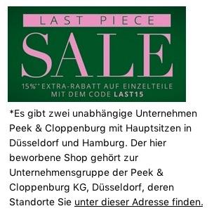 c37c387fce03f8 15% Rabatt auf ausgewählte Einzelteile im Last Piece Sale bei Peek    Cloppenburg