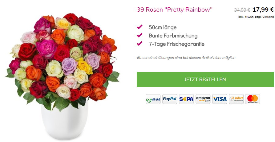 39 bunte Rosen bei BlumeIdeal