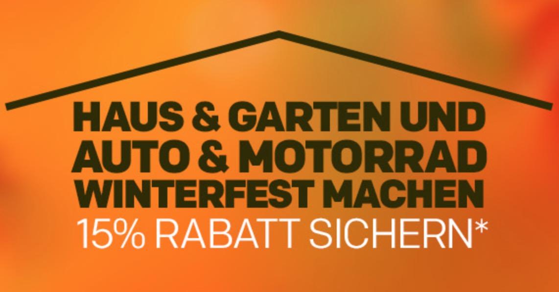 15% Rabatt auf verschiedene Produkte aus den Kategorien Haus & Hof, Auto & Motorrad sowie Garten im Rakuten Onlineshop