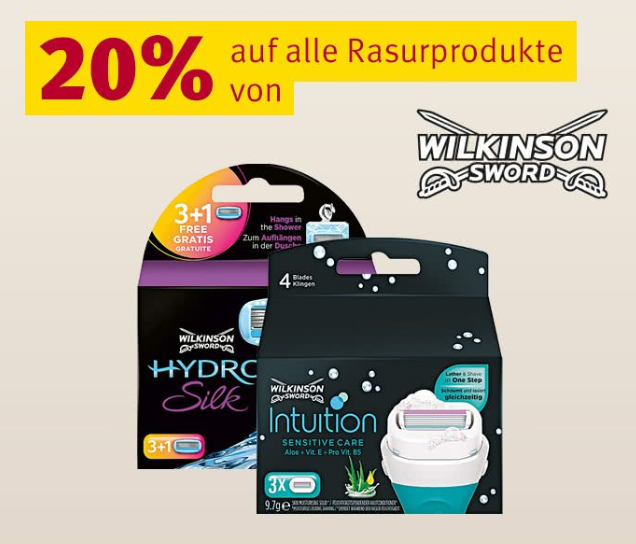 20% auf Wilkinson Rasurprodukte bei Rossmann