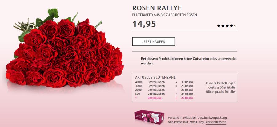 Bis zu 30 rote Rosen für 19,90 Euro bei Miflora