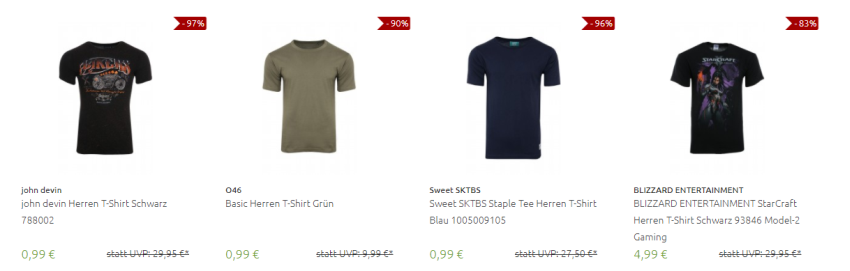 T-Shirts ab 99 Cent bei Outlet46