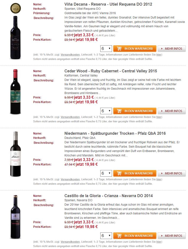 Weinvorteil 3,33 Euro Beispiele