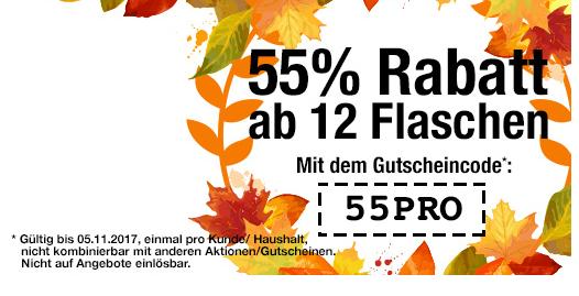 55% Rabatt auf alle nicht reduzierten Weine