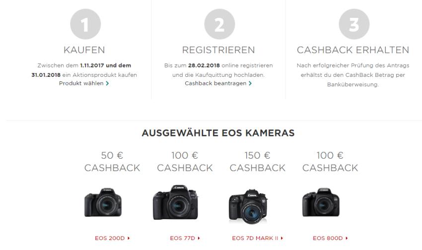 Canon Cashback Aktion auf digitale Spiegelreflexkameras