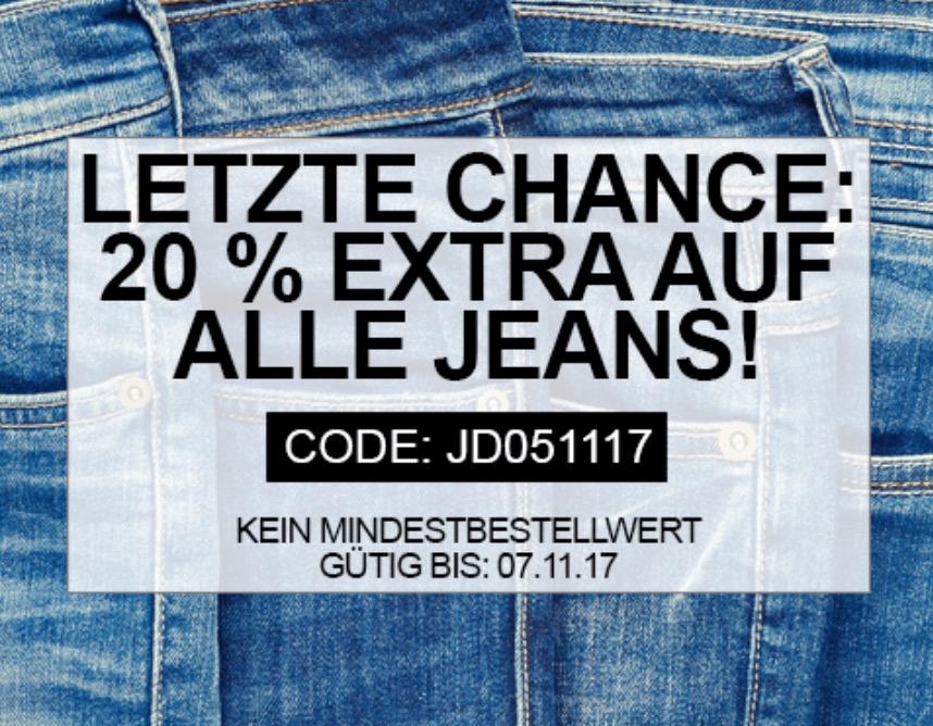 Nur noch heute! Bis zu 60% Rabatt im Sale bei Jeans-Direct + nochmal 20% Extra-Rabatt