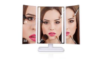 Dreifach-LED Schminkspiegel mit Touchscreen Dimmung und 3 Vergrößerungsstufen für nur 20,99 Euro