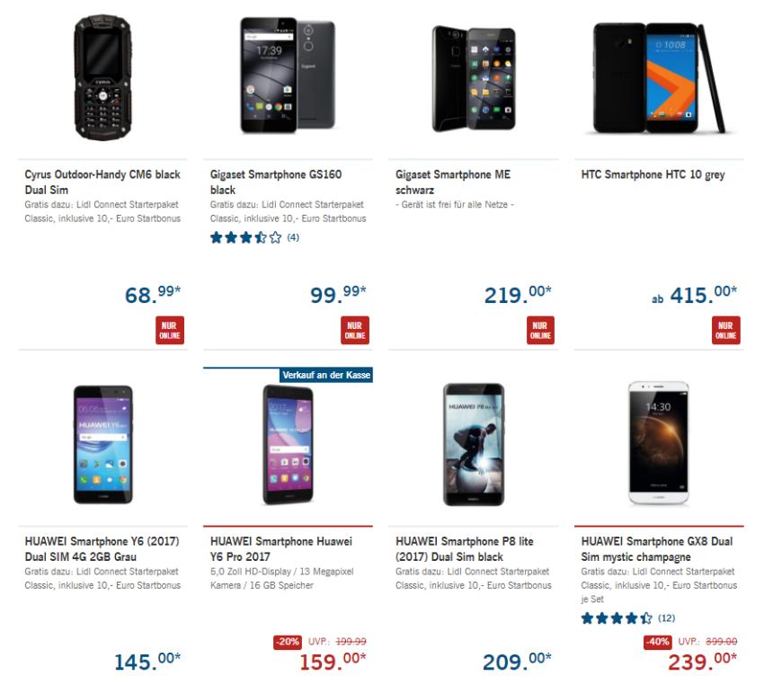 reduzierte Smartphones bei LIDL