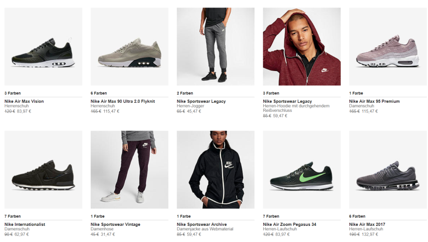 Nike Sale Beispiele
