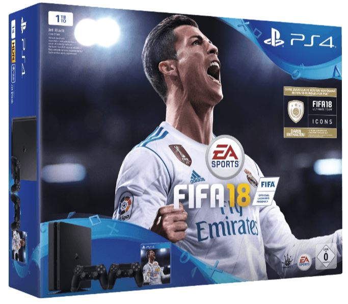 sony ps4 1tb fifa 18 2 dualshock4 controller 14 tage ps plus nur 299 euro inkl versand. Black Bedroom Furniture Sets. Home Design Ideas