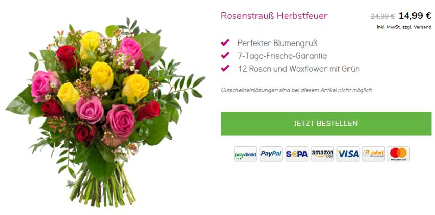 12 bunte Rosen bei Blumeideal
