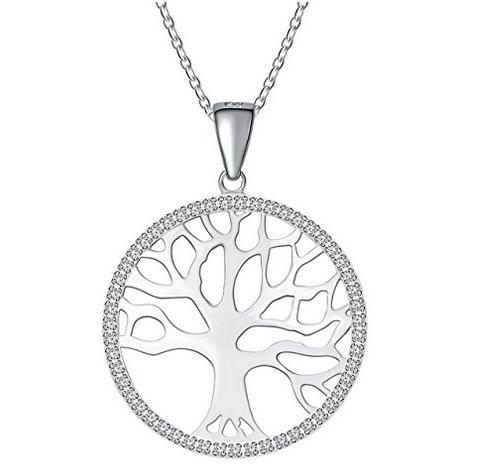 Damen-Kette mit Anhänger Baum des Lebens aus Sterling-Silber und Zirkonen nur 10,99 Euro