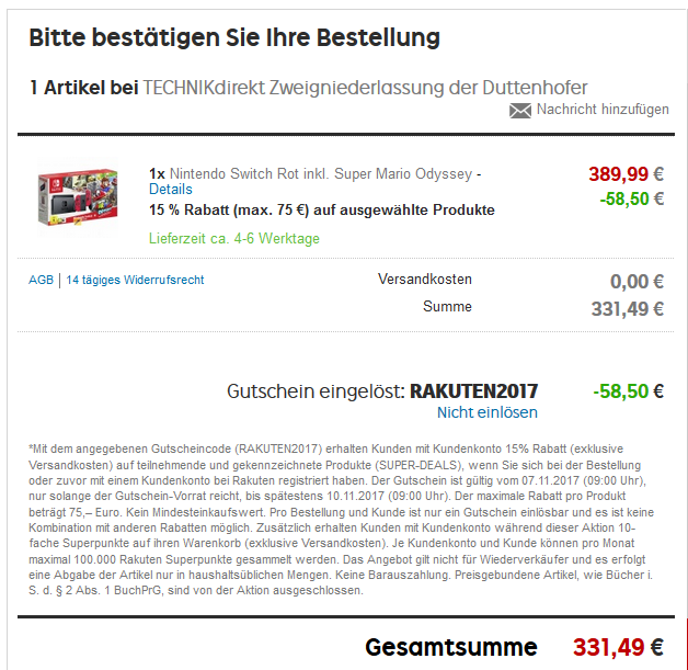 Nintendo Switch bei Rakuten