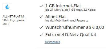 Verschiedene günstige Sparhandy Tarife z.B. ALLNET-FLAT (1GB Internet Flat, Allnet Flat, Wunschrufnummer) nur mtl. 6,90 Euro