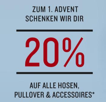 20% Rabatt auf alle Hosen, Pullover und Accessoires im Tom Tailor Onlineshop