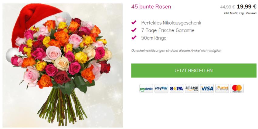 45 bunte Rosen bei BlumeIdeal