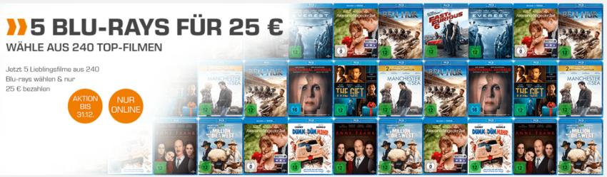 5 Blu rays für nur 25,- Euro