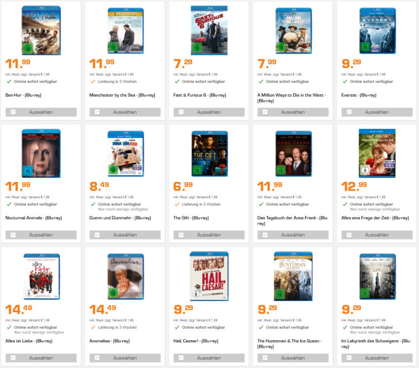 5 Blu-rays für 25,- Euro bei Saturn