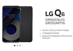 MD Smart Surf Tarif mit 1GB LTE + 50 Min und SMS für 7,99 Euro mtl. + LG Q6 für einmalig 1,- Euro