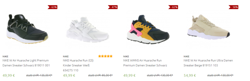 Nike Huarache Sneakers bei Outlet46