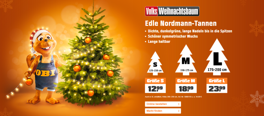 Weihnachtsbäume bei Obi kaufen