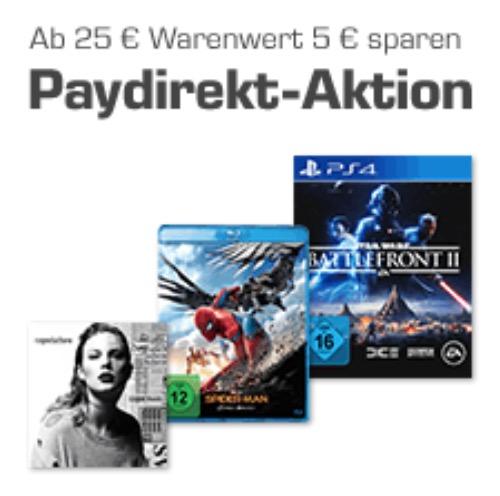 Saturn: 5,- Euro Rabatt ab 25,- Euro Bestellwert auf Games, Musik und Filme bei Zahlung per paydirekt