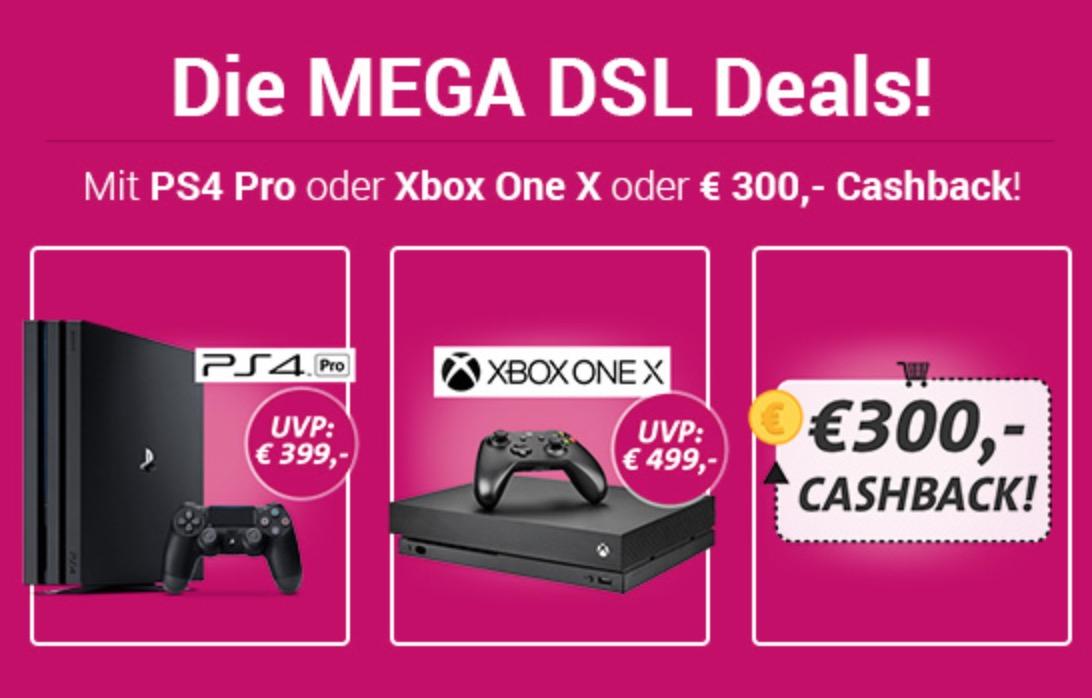 Telekom MagentaZuhause S für mtl. 27,45 Euro (M für mtl. 29,95 Euro) + PS4, Xbox One X oder 300,- Euro Cashback als Prämie