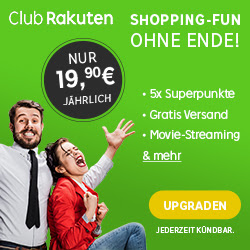 Club Rakuten mit vielen exklusiven Premium Vorteilen (unbegrenztes Film Streaming, 5-fache Superpunkte uvm.) für nur 19,90 Euro pro Jahr