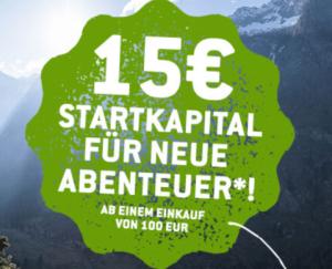 15,- Euro Bergfreunde Newsletter ab 100,- Euro Bestellwert!