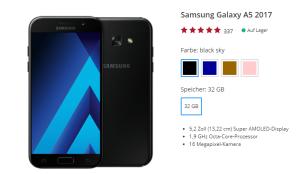 Samsung Galaxy A5 2017 + Blau Allnet XL Tarif mit 4GB Datenvolumen nur 19,99 Euro mtl. und einmalig 4,95 Euro