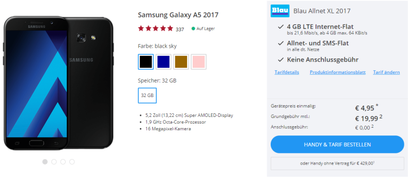 Sparhandy Galaxy A5 Deal