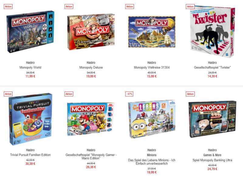 Hasbro Spiele mit 20% Rabatt