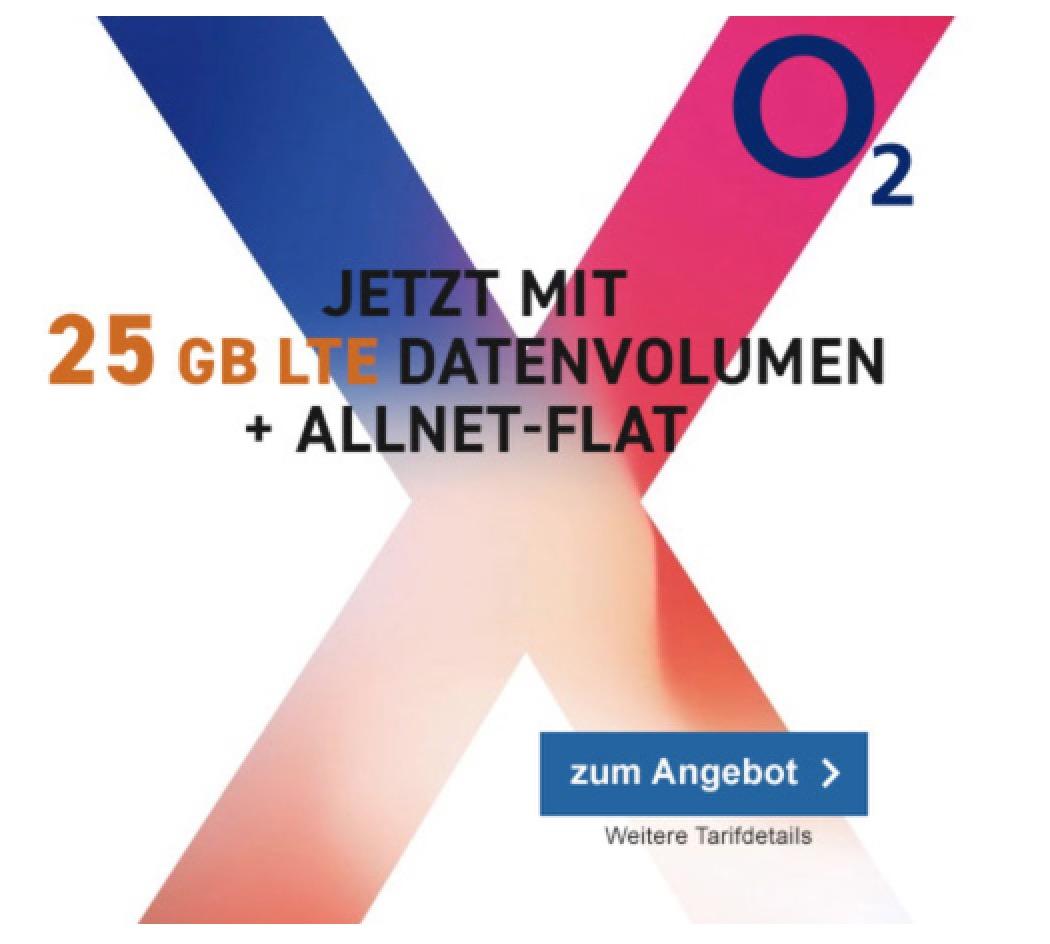 o2 Free XL mit Allnet-, SMS-Flat und 25GB Daten für mtl. 64,99 Euro + Apple iPhone X ab einmalig 49,- Euro