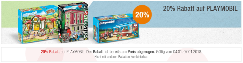 20% auf Playmobil bei Galeria Kaufhof